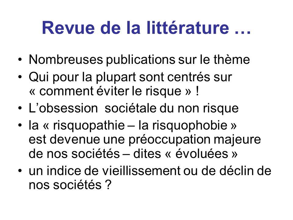 Revue de la littérature … Nombreuses publications sur le thème Qui pour la plupart sont centrés sur « comment éviter le risque » ! Lobsession sociétal