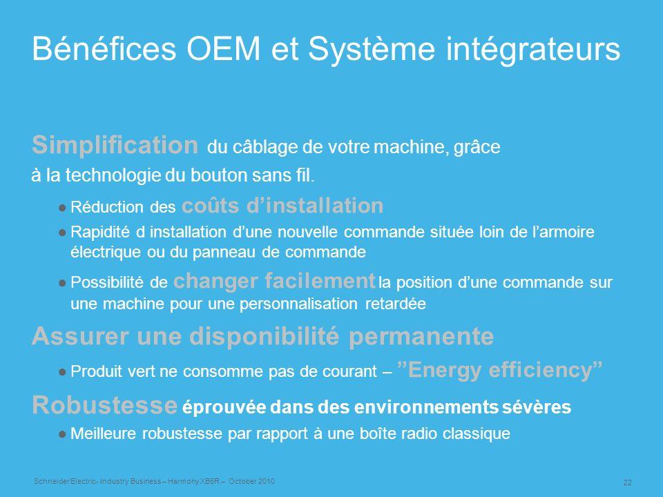 22 Schneider Electric- Industry Business – Harmony XB5R – October 2010 Bénéfices OEM et Système intégrateurs Simplification du câblage de votre machin