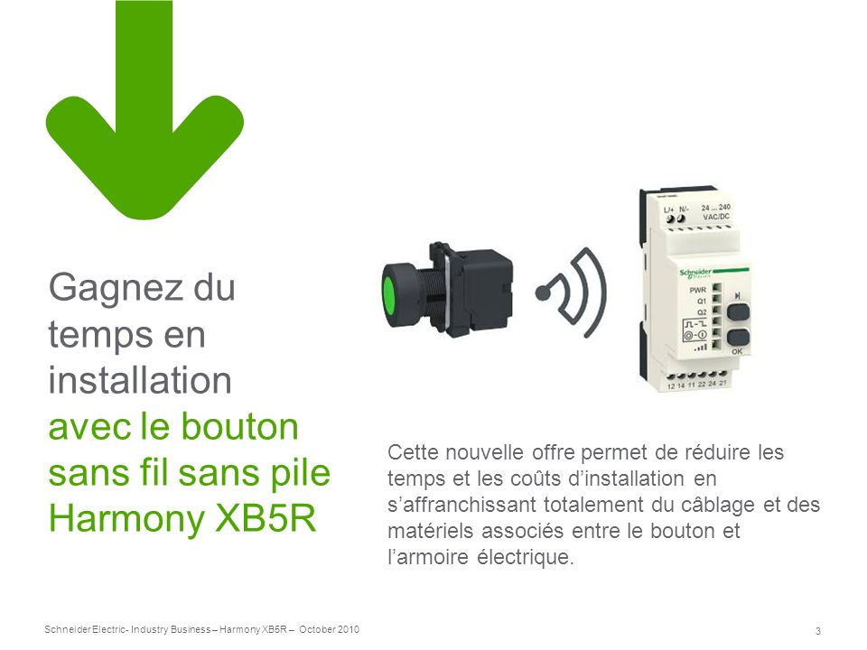 3 Schneider Electric- Industry Business – Harmony XB5R – October 2010 Gagnez du temps en installation avec le bouton sans fil sans pile Harmony XB5R C