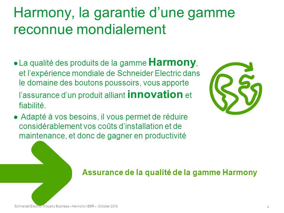 4 Schneider Electric- Industry Business – Harmony XB5R – October 2010 Harmony, la garantie dune gamme reconnue mondialement La qualité des produits de