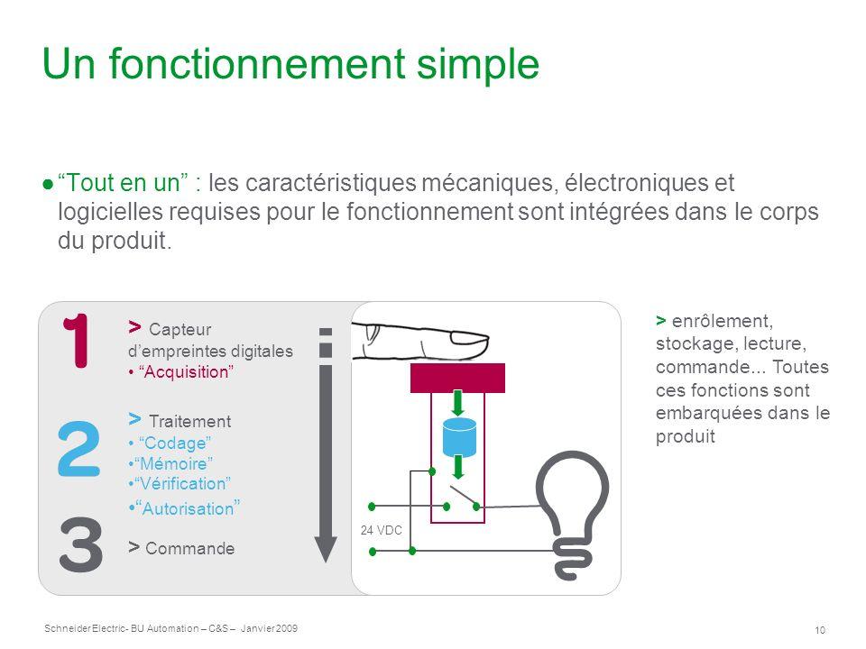 10 Schneider Electric- BU Automation – C&S – Janvier 2009 Un fonctionnement simple Tout en un : les caractéristiques mécaniques, électroniques et logi