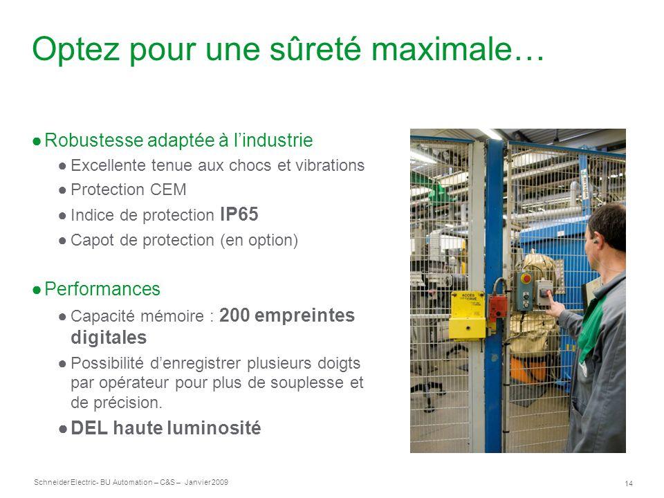 14 Schneider Electric- BU Automation – C&S – Janvier 2009 Optez pour une sûreté maximale… Robustesse adaptée à lindustrie Excellente tenue aux chocs e