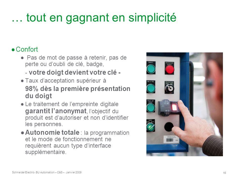 15 Schneider Electric- BU Automation – C&S – Janvier 2009 … tout en gagnant en simplicité Confort Pas de mot de passe à retenir, pas de perte ou doubl