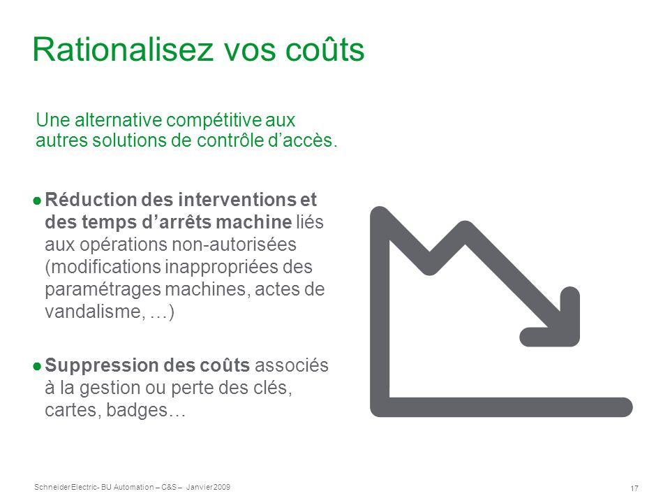 17 Schneider Electric- BU Automation – C&S – Janvier 2009 Rationalisez vos coûts Réduction des interventions et des temps darrêts machine liés aux opé