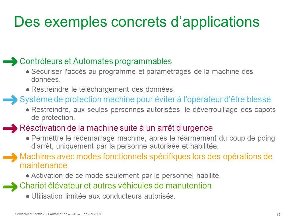 19 Schneider Electric- BU Automation – C&S – Janvier 2009 Des exemples concrets dapplications Contrôleurs et Automates programmables Sécuriser l'accès