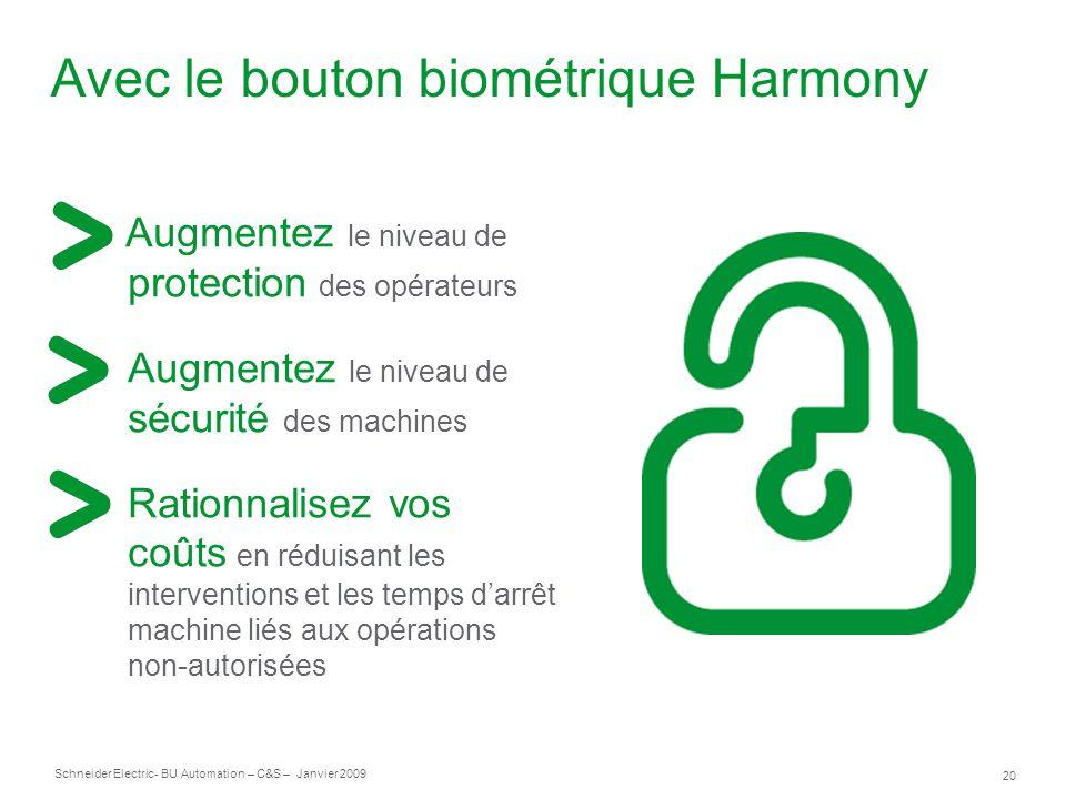 20 Schneider Electric- BU Automation – C&S – Janvier 2009 Avec le bouton biométrique Harmony Augmentez le niveau de protection des opérateurs Augmente