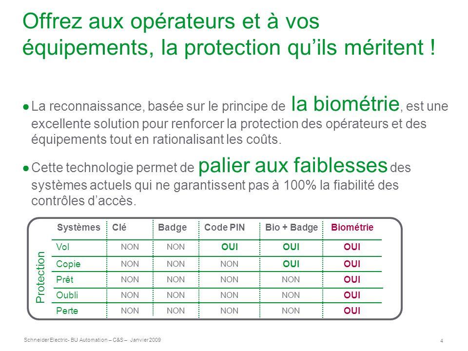 4 Schneider Electric- BU Automation – C&S – Janvier 2009 Offrez aux opérateurs et à vos équipements, la protection quils méritent ! La reconnaissance,
