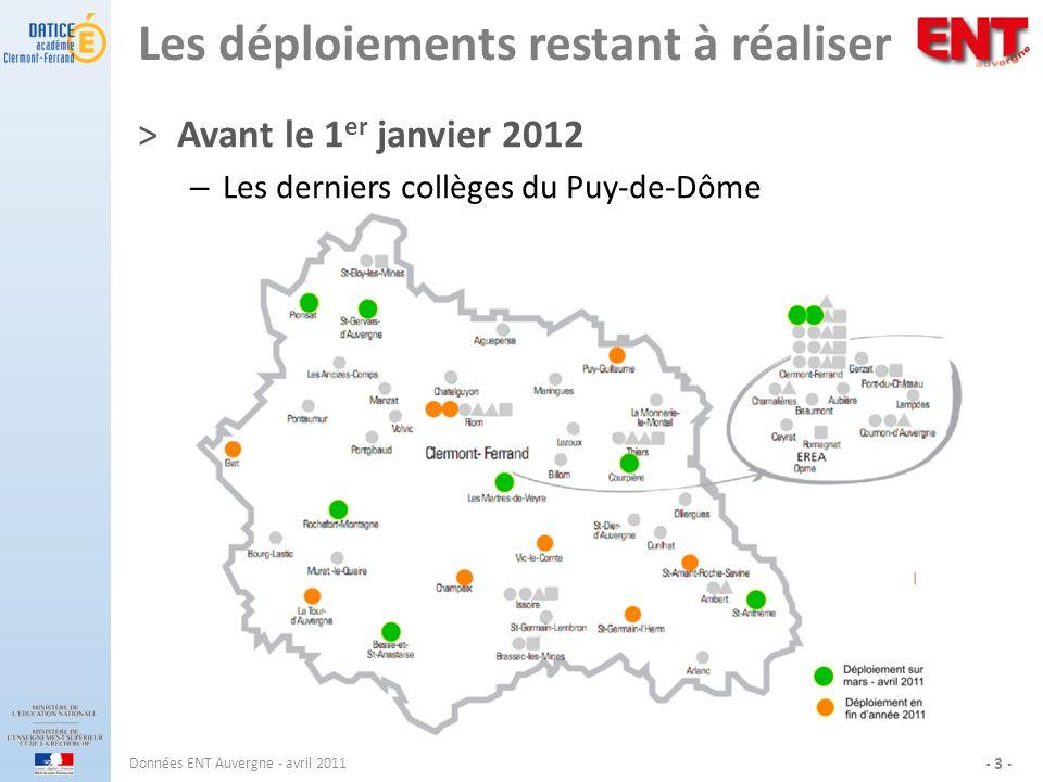 Les déploiements restant à réaliser ˃Avant le 1 er janvier 2012 – Les derniers collèges du Puy-de-Dôme Données ENT Auvergne - avril 2011 - 3 -