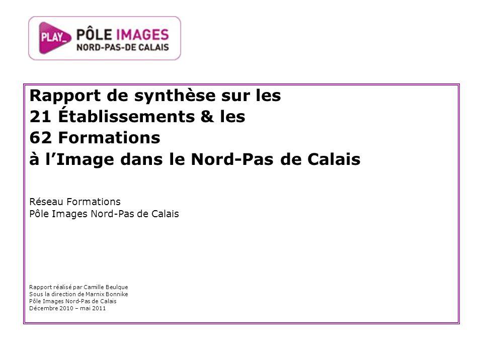 Rapport de synthèse sur les 21 Établissements & les 62 Formations à lImage dans le Nord-Pas de Calais Réseau Formations Pôle Images Nord-Pas de Calais