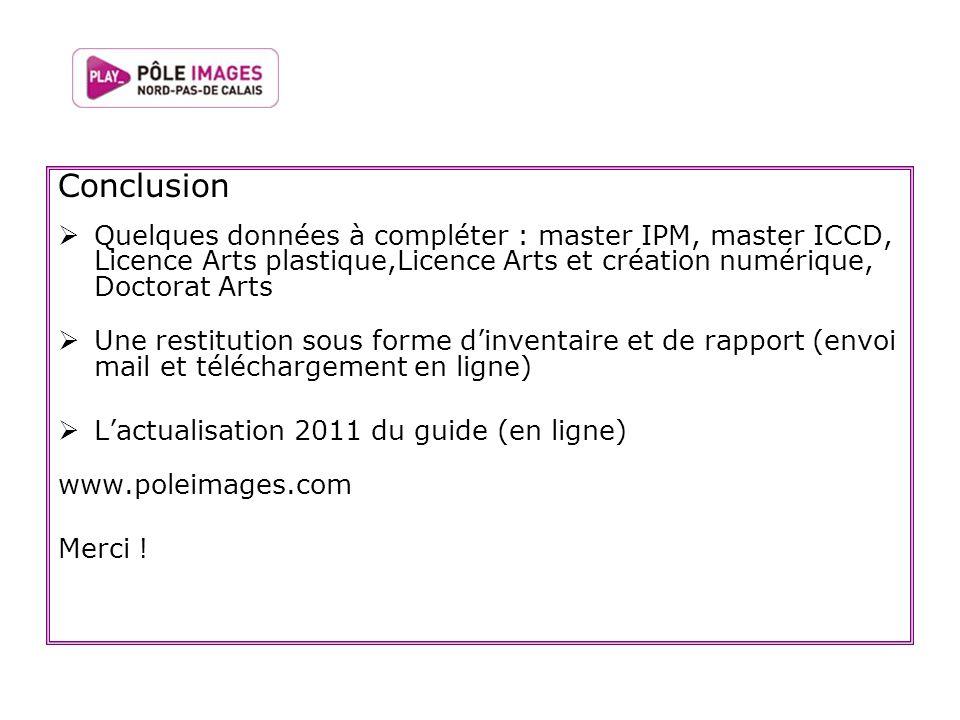 Conclusion Quelques données à compléter : master IPM, master ICCD, Licence Arts plastique,Licence Arts et création numérique, Doctorat Arts Une restit