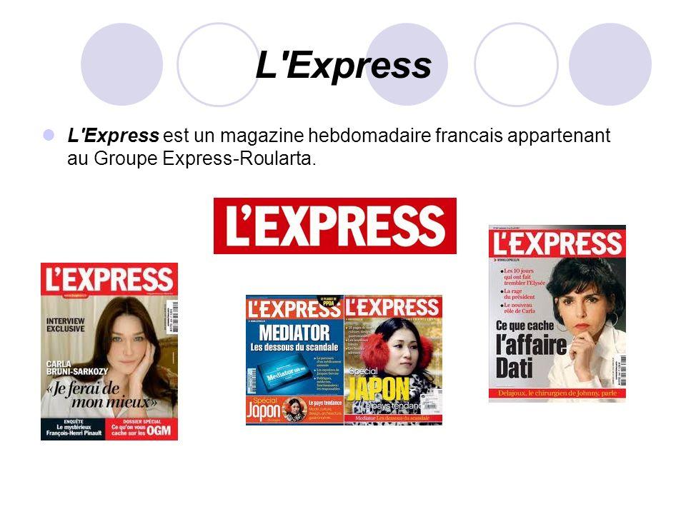 L'Express L'Express est un magazine hebdomadaire francais appartenant au Groupe Express-Roularta.