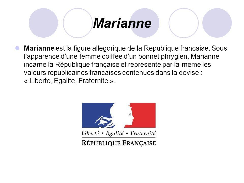 Marianne Marianne est la figure allegorique de la Republique francaise. Sous lapparence dune femme coiffee dun bonnet phrygien, Marianne incarne la Ré