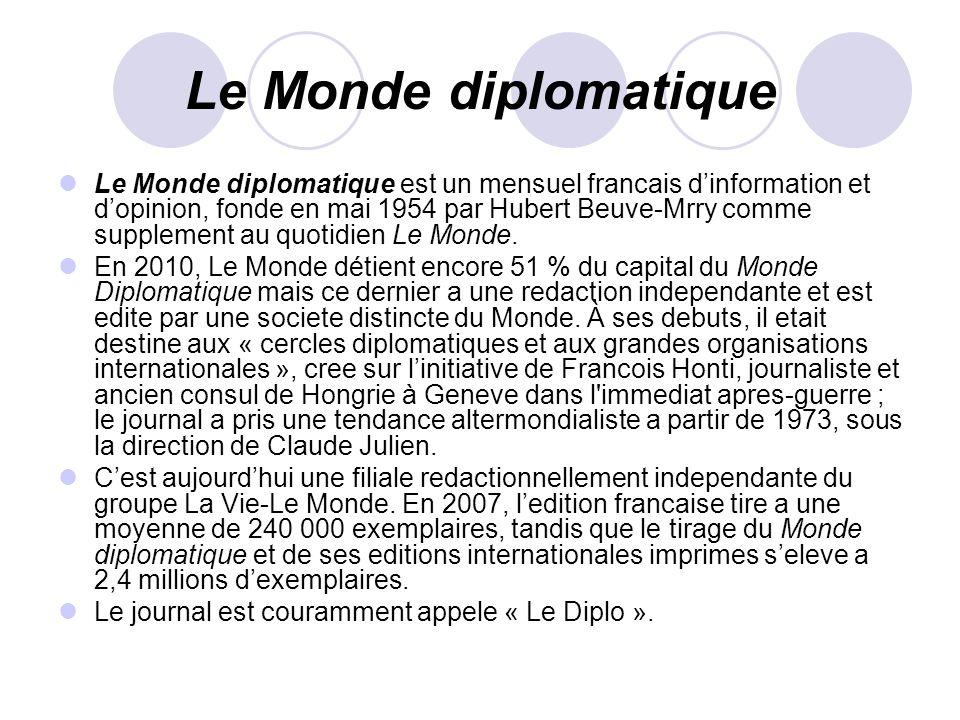 Le Monde diplomatique Le Monde diplomatique est un mensuel francais dinformation et dopinion, fonde en mai 1954 par Hubert Beuve-Mrry comme supplement