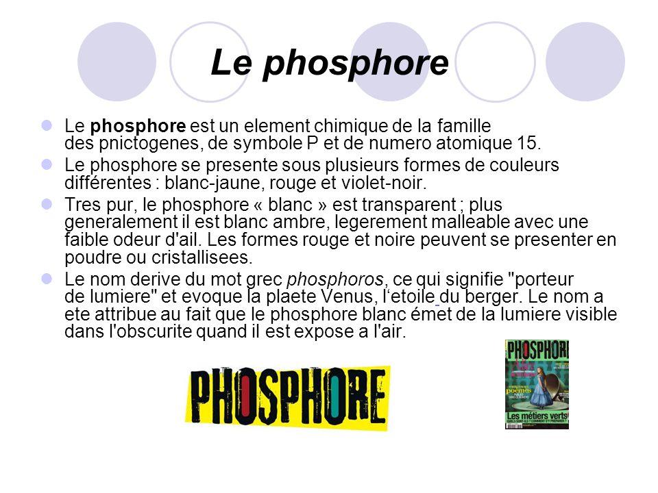 Le phosphore Le phosphore est un element chimique de la famille des pnictogenes, de symbole P et de numero atomique 15. Le phosphore se presente sous
