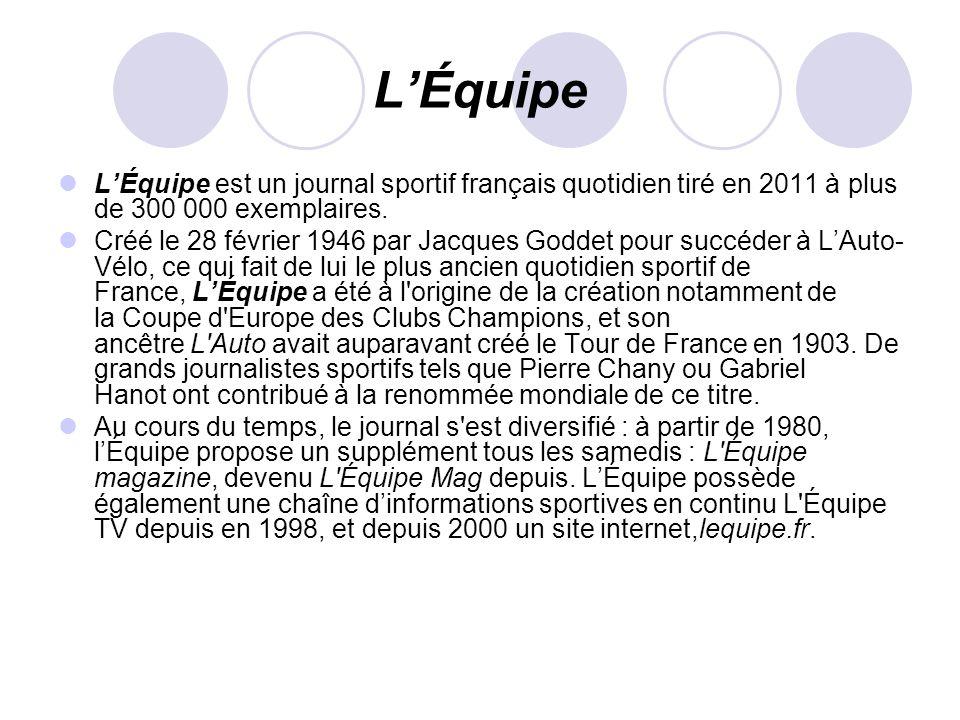 LÉquipe LÉquipe est un journal sportif français quotidien tiré en 2011 à plus de 300 000 exemplaires. Créé le 28 février 1946 par Jacques Goddet pour
