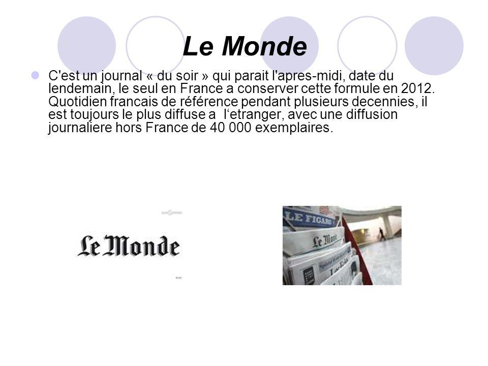 Le Monde C'est un journal « du soir » qui parait l'apres-midi, date du lendemain, le seul en France a conserver cette formule en 2012. Quotidien franc