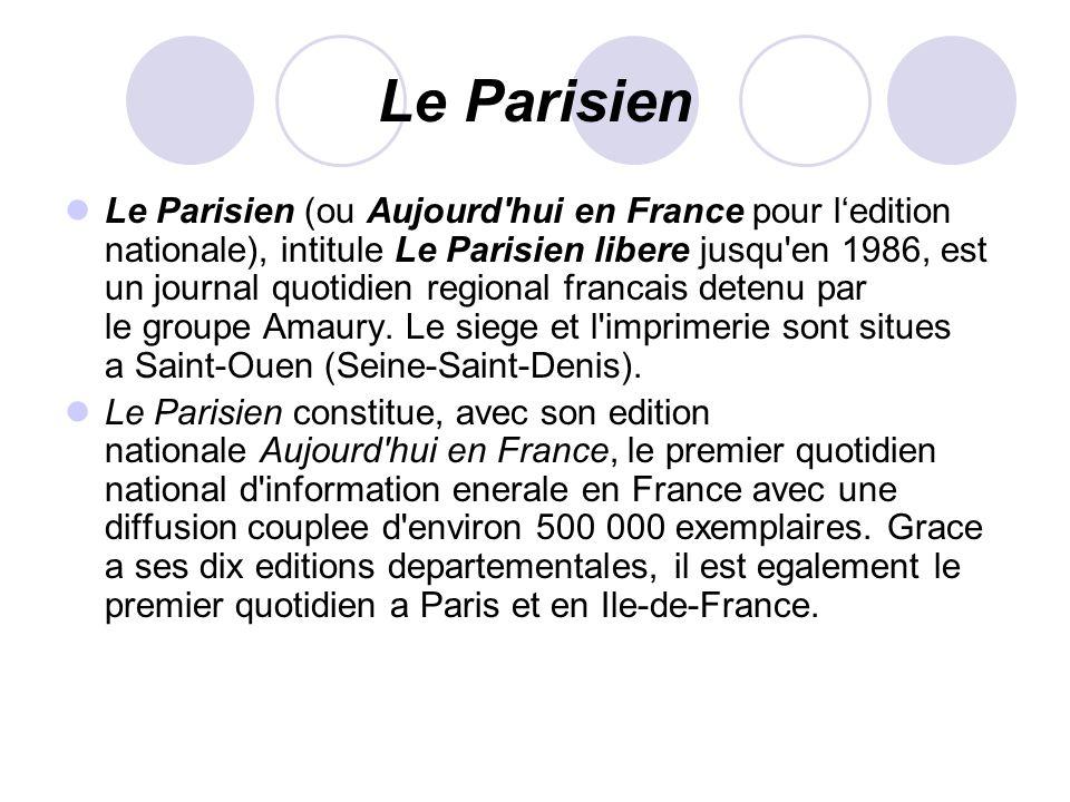 Le Parisien Le Parisien (ou Aujourd'hui en France pour ledition nationale), intitule Le Parisien libere jusqu'en 1986, est un journal quotidien region