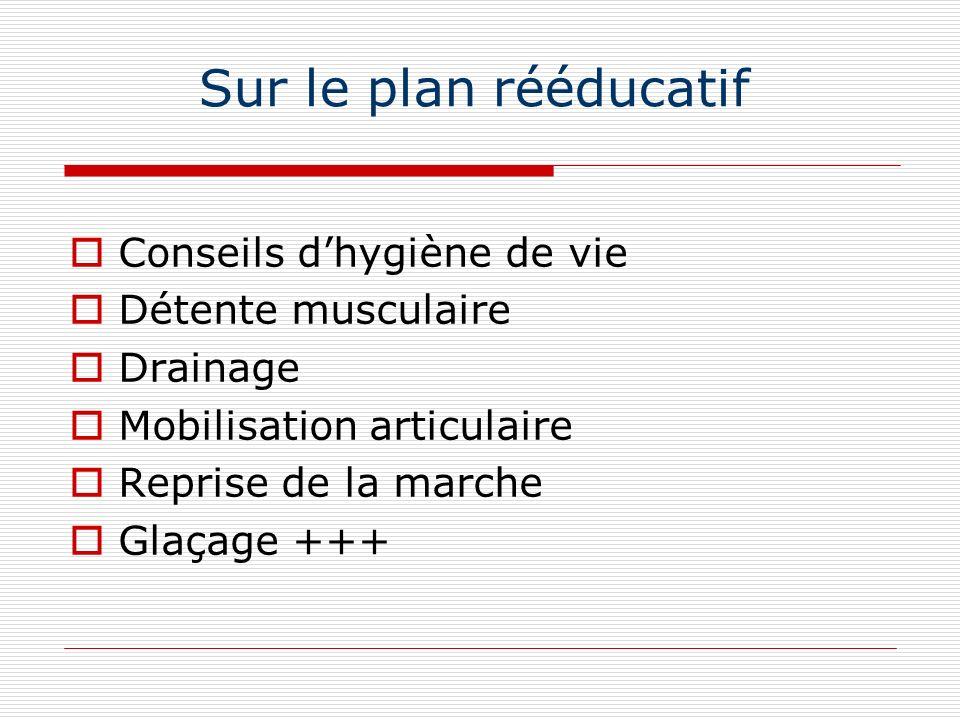 Sur le plan rééducatif Conseils dhygiène de vie Détente musculaire Drainage Mobilisation articulaire Reprise de la marche Glaçage +++