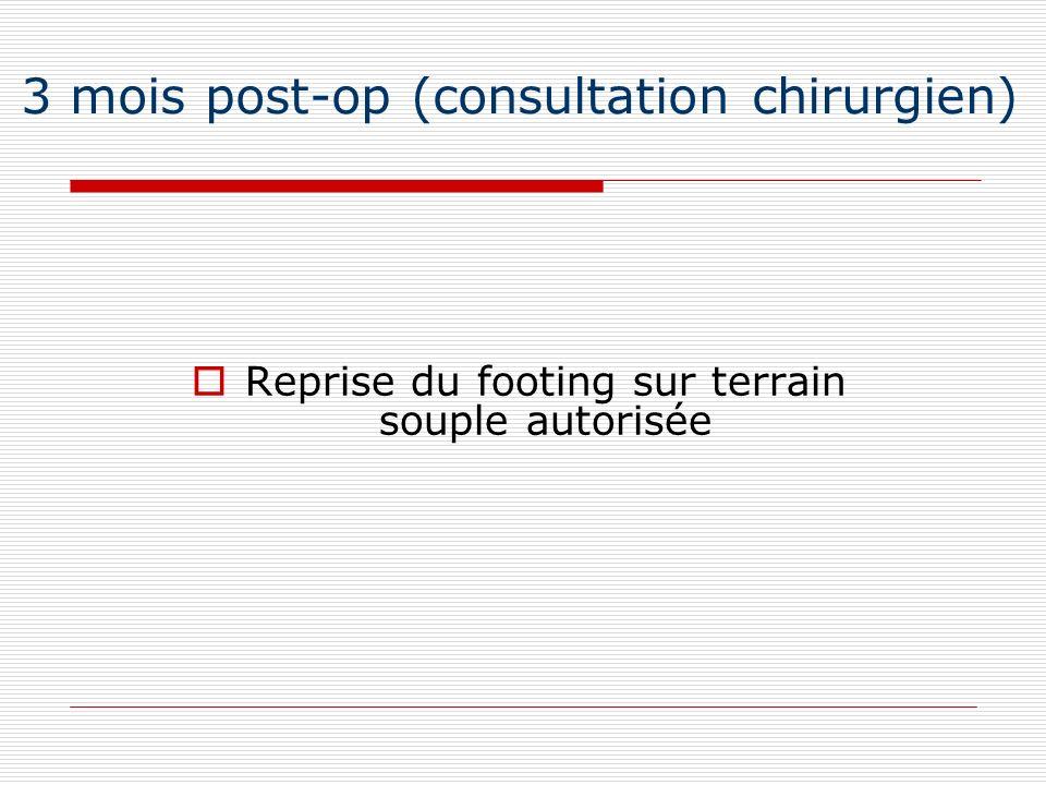 3 mois post-op (consultation chirurgien) Reprise du footing sur terrain souple autorisée