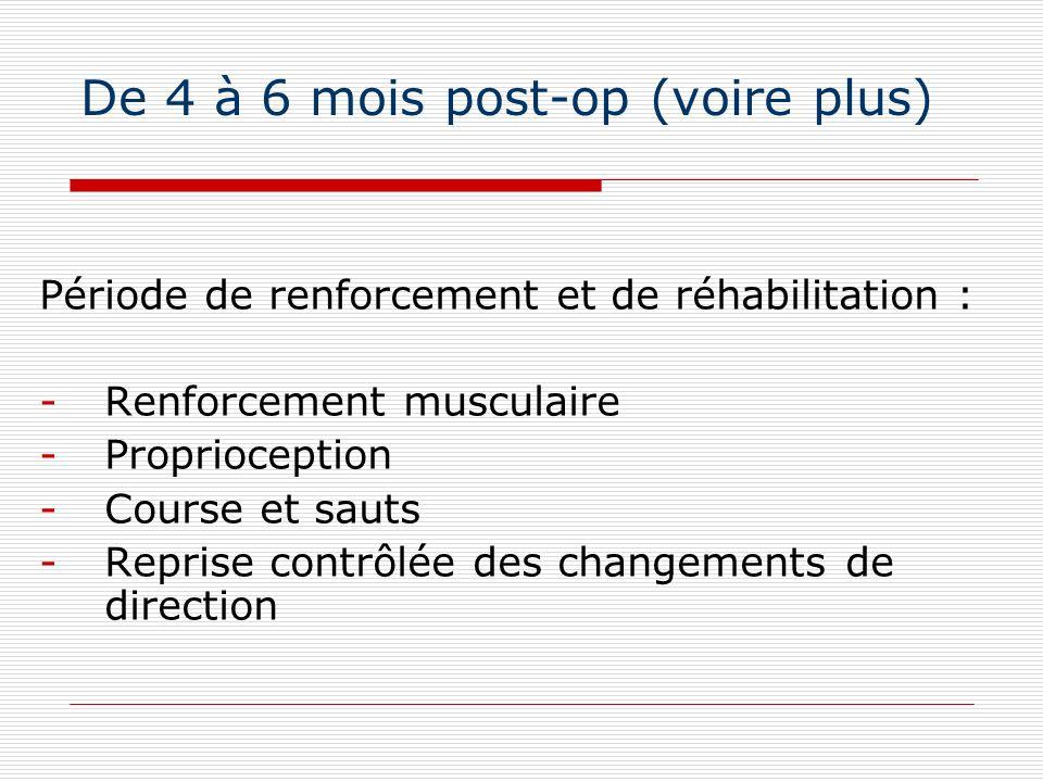 De 4 à 6 mois post-op (voire plus) Période de renforcement et de réhabilitation : -Renforcement musculaire -Proprioception -Course et sauts -Reprise c