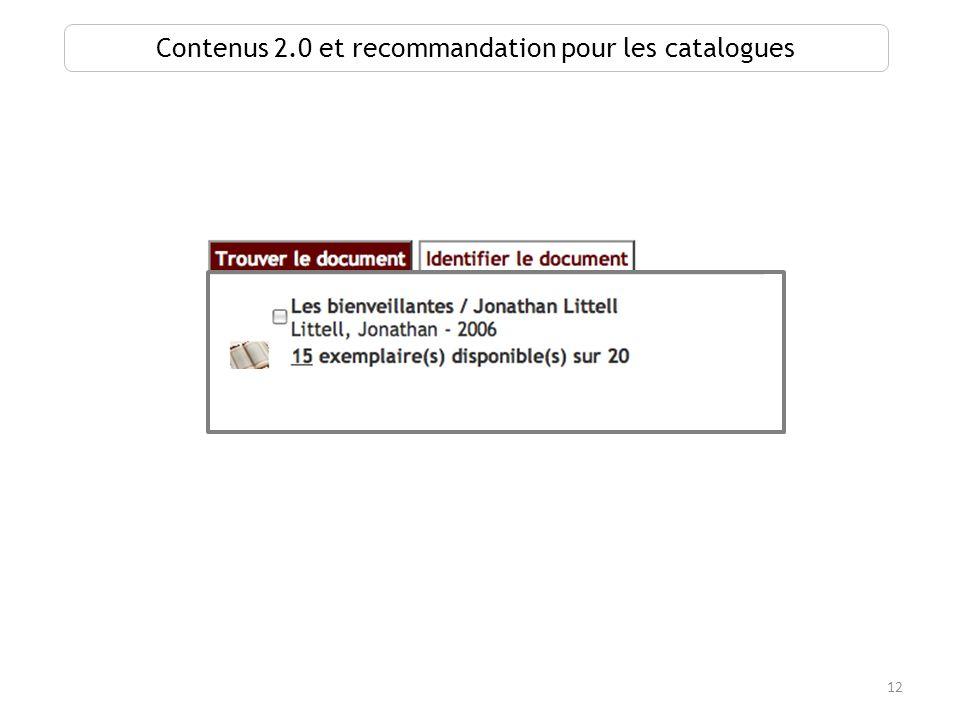 12 Contenus 2.0 et recommandation pour les catalogues