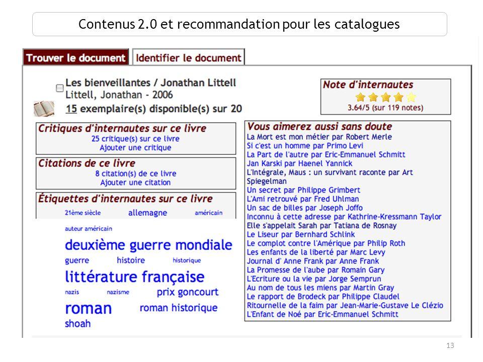 13 Contenus 2.0 et recommandation pour les catalogues