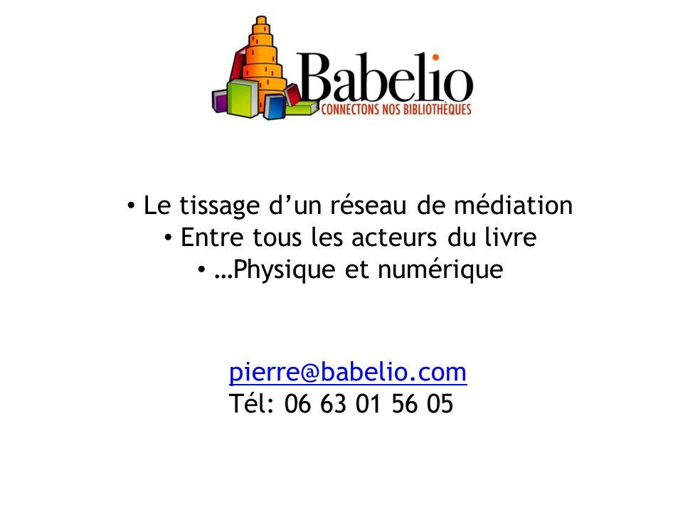 Le tissage dun réseau de médiation Entre tous les acteurs du livre …Physique et numérique pierre@babelio.com pierre@babelio.com Tél: 06 63 01 56 05