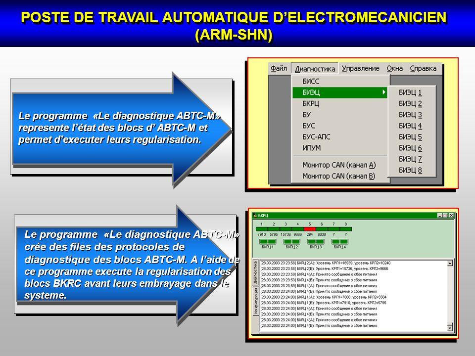 POSTE DE TRAVAIL AUTOMATIQUE DELECTROMECANICIEN (АRM-SHN) Le programme «Le diagnostique ABTC-M» crée des files des protocoles de diagnostique des bloc