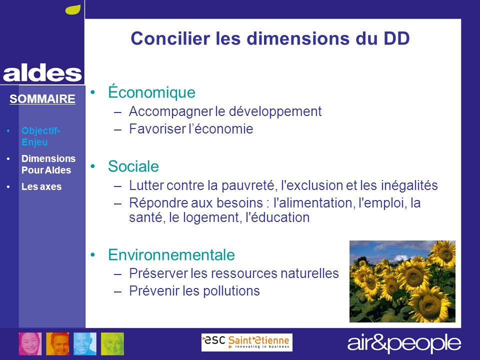 SOMMAIRE Concilier les dimensions du DD Économique –Accompagner le développement –Favoriser léconomie Sociale –Lutter contre la pauvreté, l'exclusion
