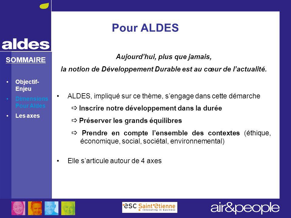 SOMMAIRE Pour ALDES Aujourdhui, plus que jamais, la notion de Développement Durable est au cœur de lactualité. ALDES, impliqué sur ce thème, sengage d