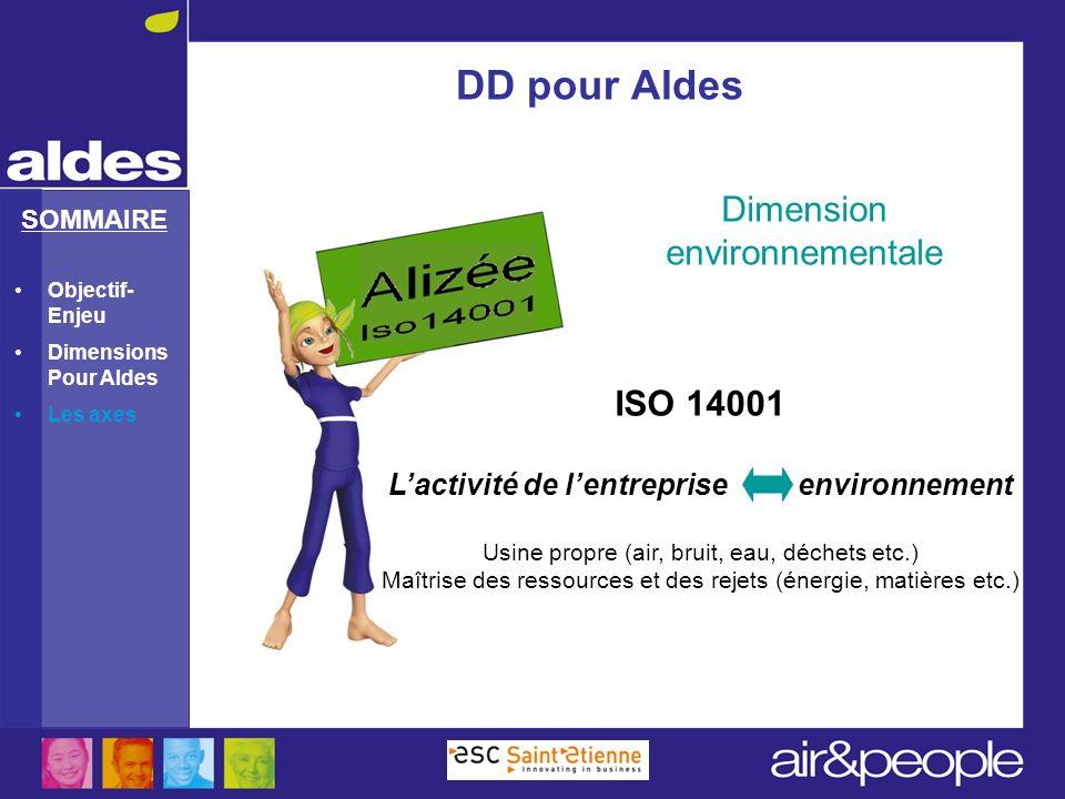 SOMMAIRE Dimension environnementale DD pour Aldes ISO 14001 Lactivité de lentreprise environnement Usine propre (air, bruit, eau, déchets etc.) Maîtri