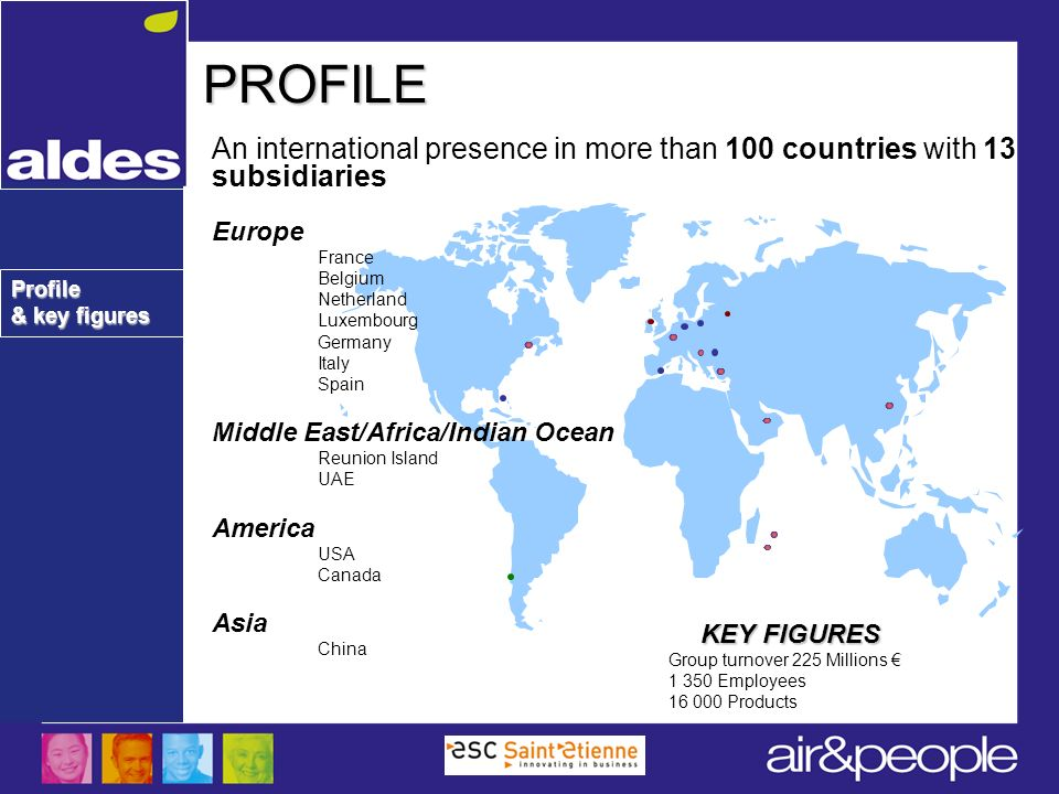 Profile & key figures PROFILE An international presence in more than 100 countries with 13 subsidiaries Europe France Belgium Netherland Luxembourg Ge