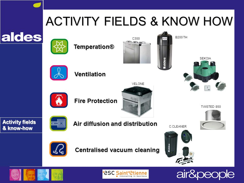 Activity fields & know-how ACTIVITY FIELDS & KNOW HOW Ventilation Centralised vacuum cleaning Air diffusion and distribution Fire Protection Temperati