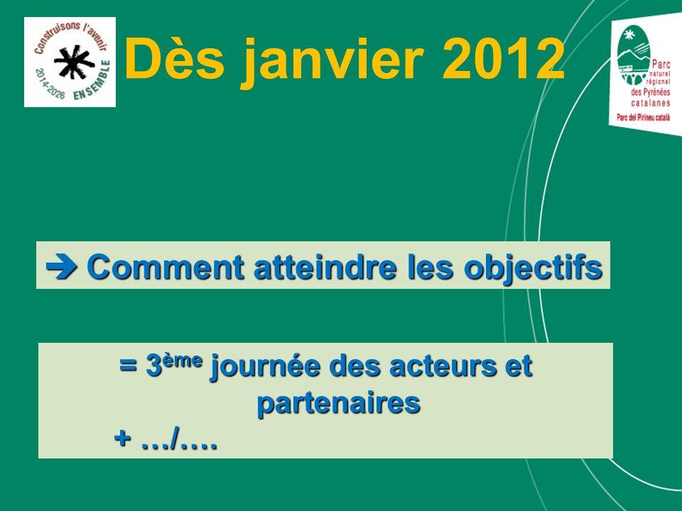 Dès janvier 2012 = 3 ème journée des acteurs et partenaires + …/…. Comment atteindre les objectifs Comment atteindre les objectifs