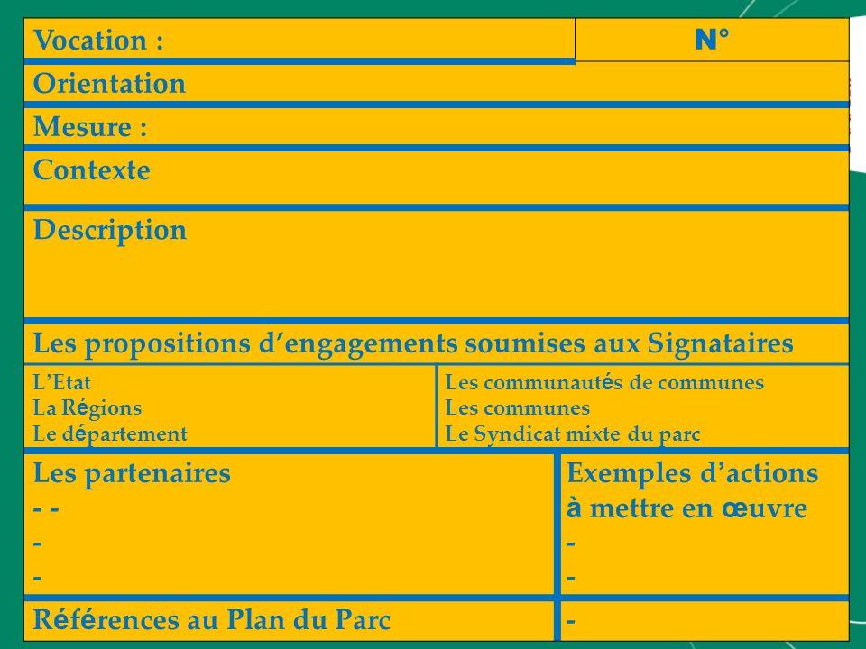 Vocation : N° Orientation Mesure : Contexte Description Les propositions dengagements soumises aux Signataires L Etat La R é gions Le d é partement Le