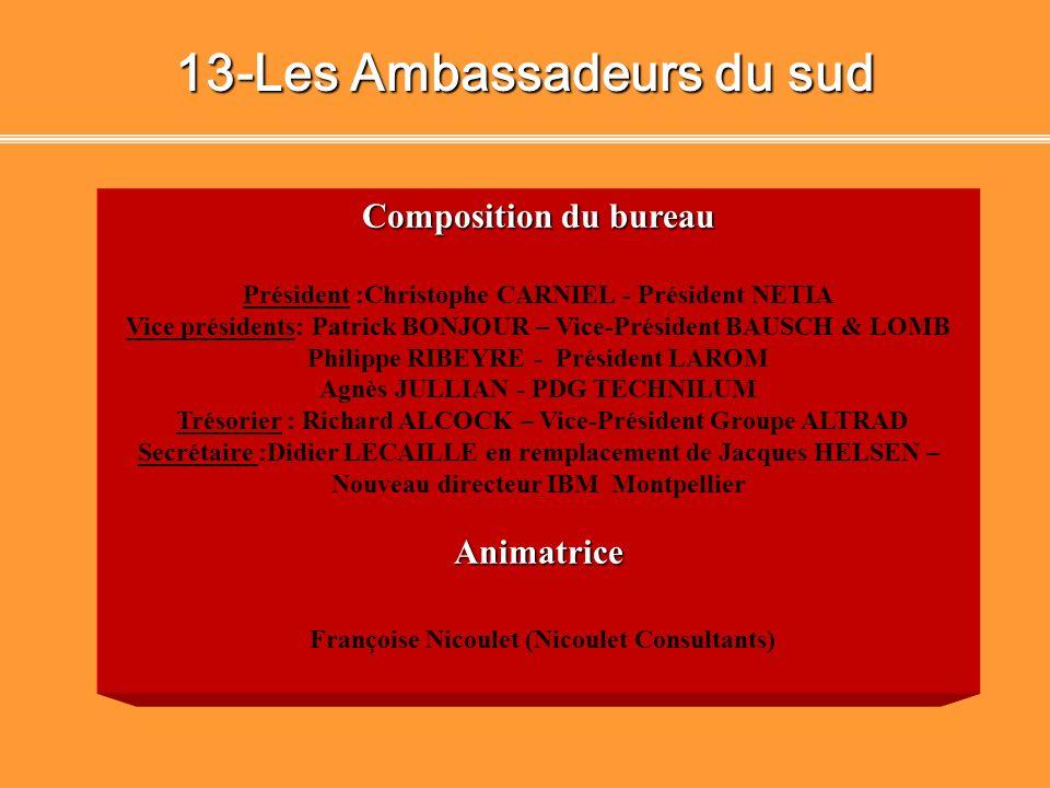 12 - Les Ambassadeurs du sud Accessoires Déco SA François Rivault - Président Directeur Général ALTRAD Richard ALCOCK - Vice Président AREVA T&D Prote