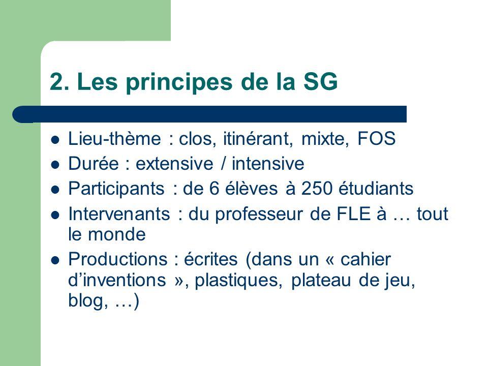 2. Les principes de la SG Lieu-thème : clos, itinérant, mixte, FOS Durée : extensive / intensive Participants : de 6 élèves à 250 étudiants Intervenan