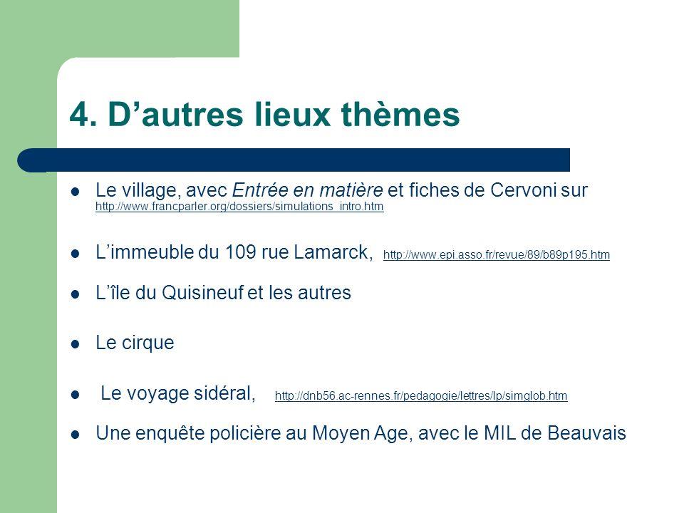 4. Dautres lieux thèmes Le village, avec Entrée en matière et fiches de Cervoni sur http://www.francparler.org/dossiers/simulations_intro.htm http://w
