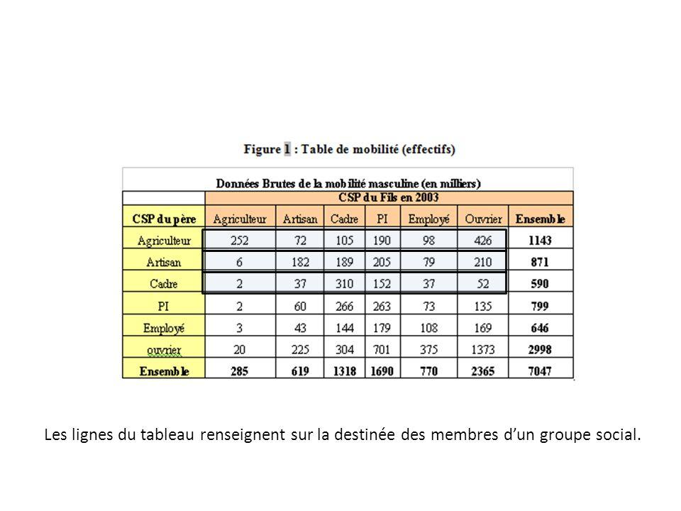Ce tableau deffectifs (Figure 1) permet de construire plusieurs tableaux de proportions (%) : - Table de destinée : ce tableau permet de renseigner le lecteur sur la destinée sociale des membres des différents groupes sociaux considérés.