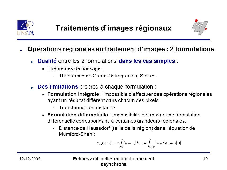 12/12/2005Rétines artificielles en fonctionnement asynchrone 10 Traitements dimages régionaux Opérations régionales en traitement dimages : 2 formulat