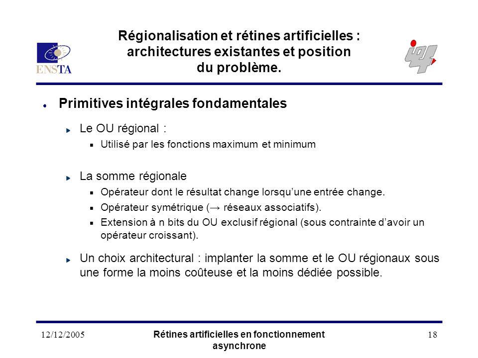 12/12/2005Rétines artificielles en fonctionnement asynchrone 18 Régionalisation et rétines artificielles : architectures existantes et position du pro