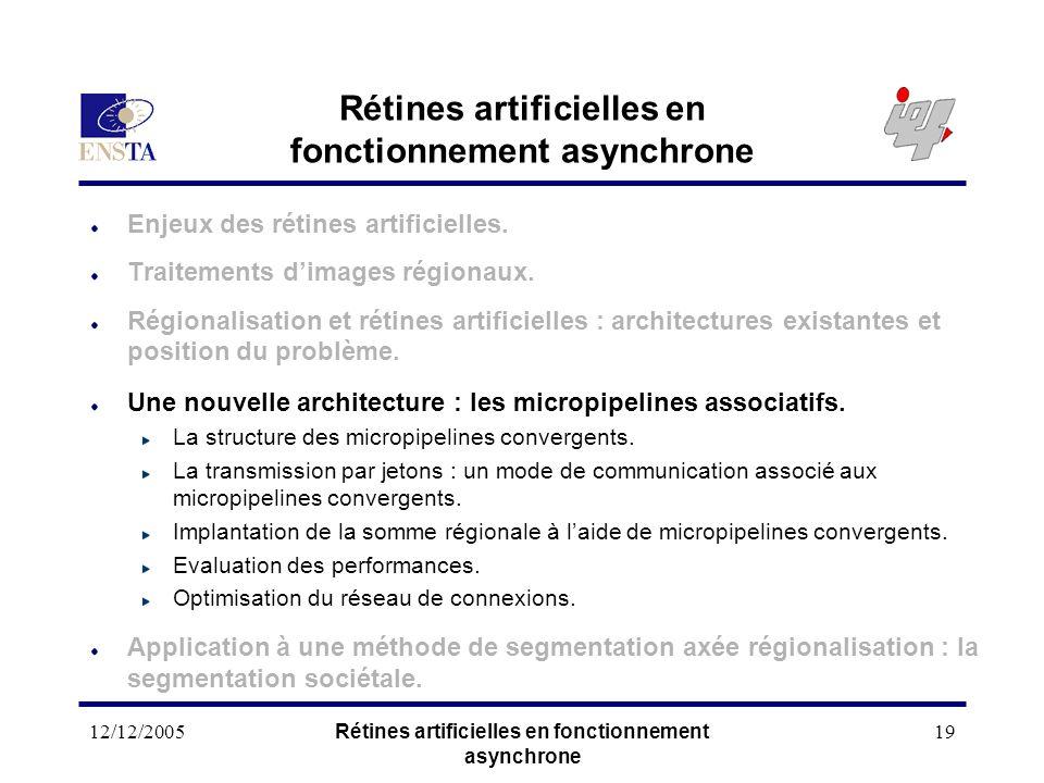 12/12/2005Rétines artificielles en fonctionnement asynchrone 19 Rétines artificielles en fonctionnement asynchrone Enjeux des rétines artificielles. T
