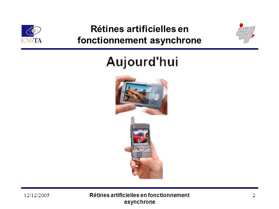 12/12/2005Rétines artificielles en fonctionnement asynchrone 2 Moins cher ! Plus de services ! ex : Vidéo Plus longtemps ! Basse consommation