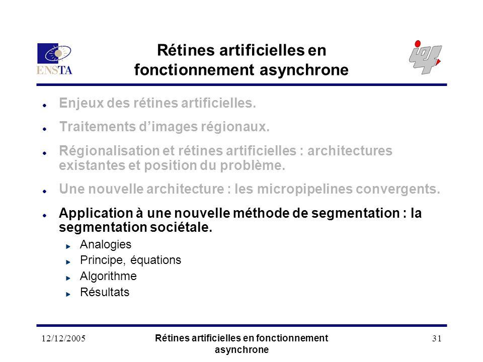 12/12/2005Rétines artificielles en fonctionnement asynchrone 31 Rétines artificielles en fonctionnement asynchrone Enjeux des rétines artificielles. T