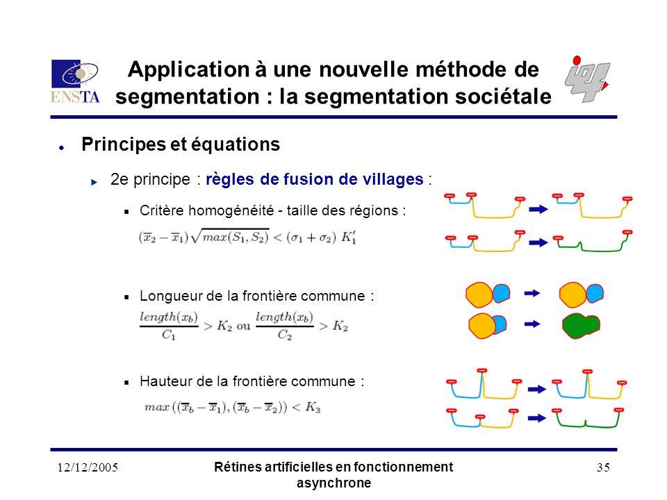 12/12/2005Rétines artificielles en fonctionnement asynchrone 35 Application à une nouvelle méthode de segmentation : la segmentation sociétale Princip