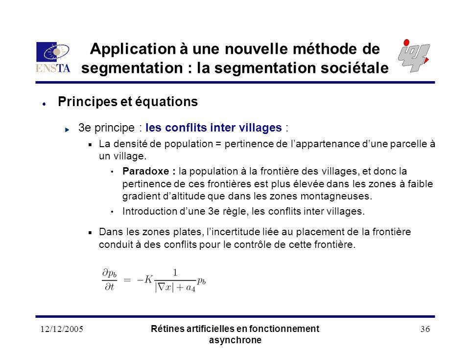 12/12/2005Rétines artificielles en fonctionnement asynchrone 36 Application à une nouvelle méthode de segmentation : la segmentation sociétale Princip
