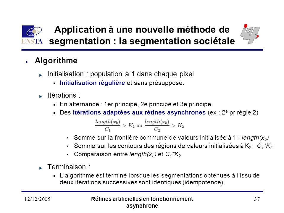 12/12/2005Rétines artificielles en fonctionnement asynchrone 37 Application à une nouvelle méthode de segmentation : la segmentation sociétale Algorit