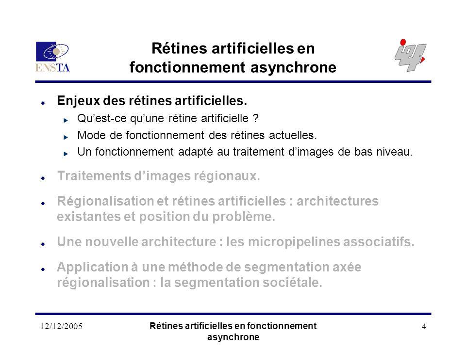 12/12/2005Rétines artificielles en fonctionnement asynchrone 4 Enjeux des rétines artificielles. Quest-ce quune rétine artificielle ? Mode de fonction