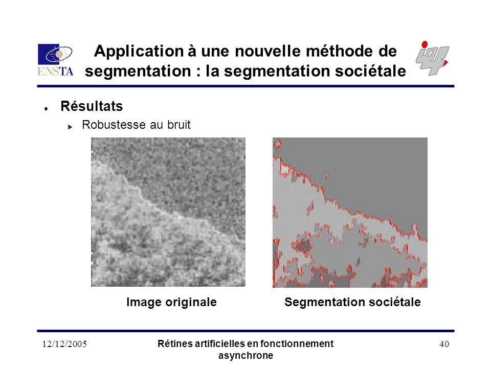 12/12/2005Rétines artificielles en fonctionnement asynchrone 40 Application à une nouvelle méthode de segmentation : la segmentation sociétale Résulta