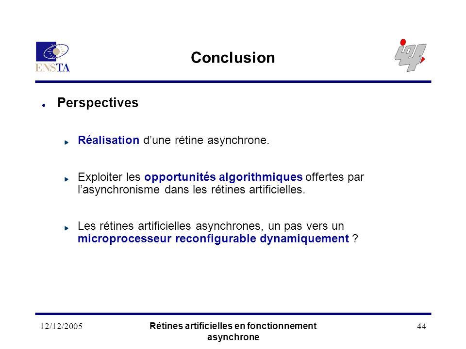 12/12/2005Rétines artificielles en fonctionnement asynchrone 44 Conclusion Perspectives Réalisation dune rétine asynchrone. Exploiter les opportunités